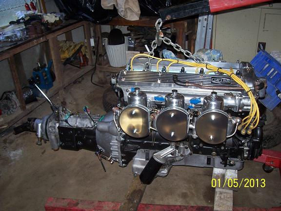 completed engine new flywheel and clutch.JPG